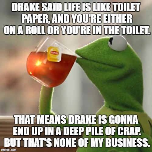 Kermit On Drake's Toilet Paper Analogy | DRAKE SAID LIFE IS LIKE TOILET PAPER, AND YOU'RE EITHER ON A ROLL OR YOU'RE IN THE TOILET. THAT MEANS DRAKE IS GONNA END UP IN A DEEP PILE O | image tagged in memes,but thats none of my business,kermit the frog,drake,toilet paper,crap advice | made w/ Imgflip meme maker