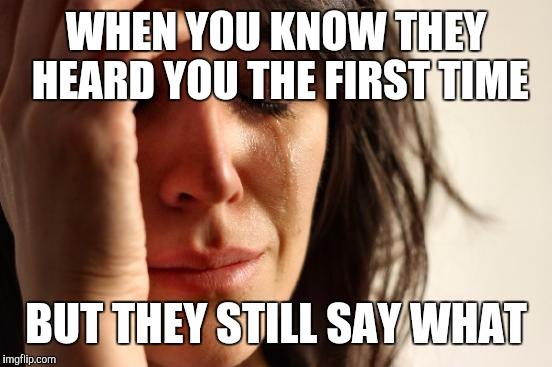 First World Problems Meme | WHEN YOU KNOW THEY HEARD YOU THE FIRST TIME BUT THEY STILL SAY WHAT | image tagged in memes,first world problems | made w/ Imgflip meme maker