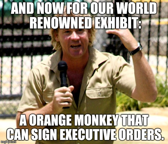 AND NOW FOR OUR WORLD RENOWNED EXHIBIT: A ORANGE MONKEY THAT CAN SIGN EXECUTIVE ORDERS. | made w/ Imgflip meme maker