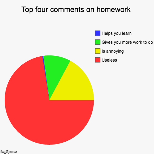 Top four comments on homework | Useless, Is annoying, Gives you more work to do, Helps you learn | image tagged in funny,pie charts | made w/ Imgflip pie chart maker