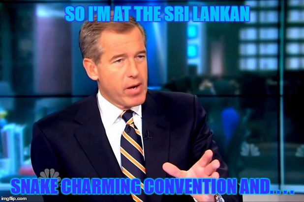 SO I'M AT THE SRI LANKAN SNAKE CHARMING CONVENTION AND. . . . | made w/ Imgflip meme maker