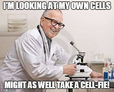 I'M LOOKING AT MY OWN CELLS MIGHT AS WELL TAKE A CELL-FIE! | image tagged in punny scientist | made w/ Imgflip meme maker