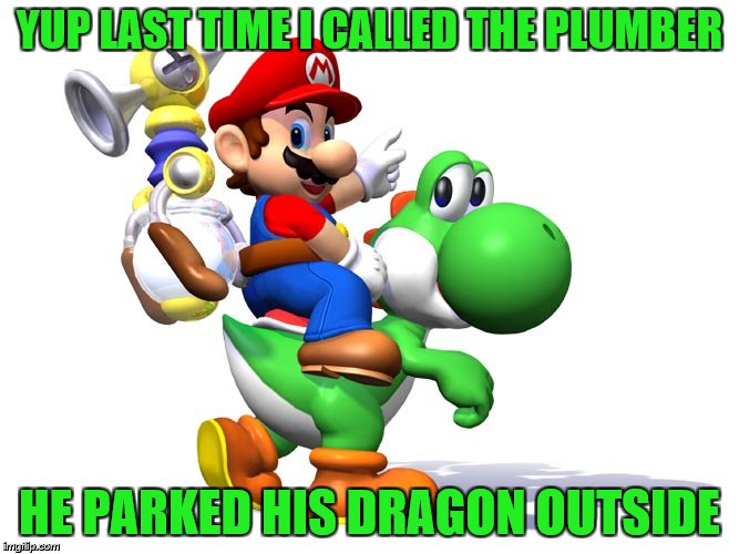 YUP LAST TIME I CALLED THE PLUMBER HE PARKED HIS DRAGON OUTSIDE | made w/ Imgflip meme maker