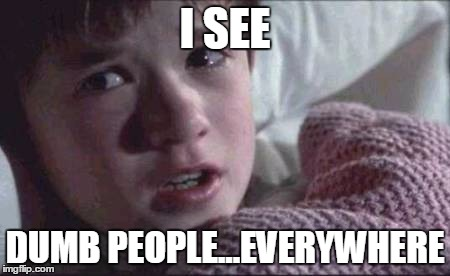 I See Dead People | I SEE DUMB PEOPLE...EVERYWHERE | image tagged in memes,i see dead people | made w/ Imgflip meme maker