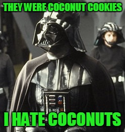 Darth Vader | THEY WERE COCONUT COOKIES I HATE COCONUTS | image tagged in darth vader | made w/ Imgflip meme maker