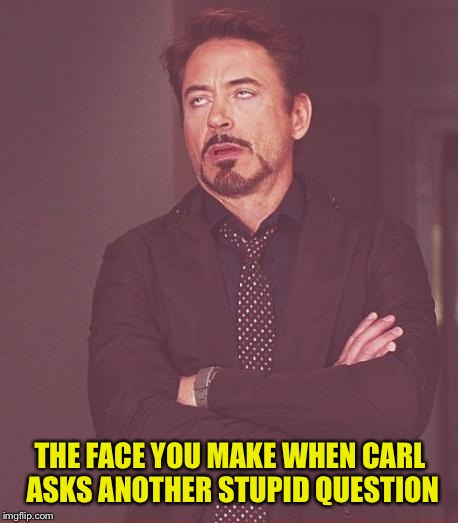 Face You Make Robert Downey Jr Meme | THE FACE YOU MAKE WHEN CARL ASKS ANOTHER STUPID QUESTION | image tagged in memes,face you make robert downey jr | made w/ Imgflip meme maker