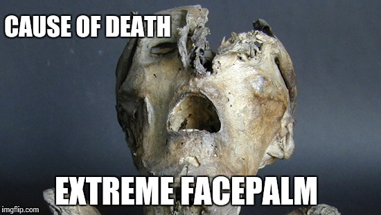 Autopsy results are in… | CAUSE OF DEATH EXTREME FACEPALM | image tagged in mummy,facepalm,memes,funny,extreme | made w/ Imgflip meme maker
