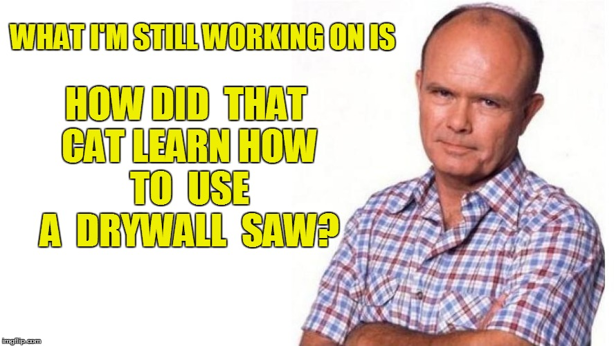 WHAT I'M STILL WORKING ON IS HOW DID  THAT CAT LEARN HOW  TO  USE  A  DRYWALL  SAW? | made w/ Imgflip meme maker