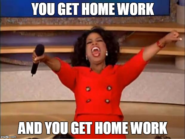 Oprah You Get A Meme | YOU GET HOME WORK AND YOU GET HOME WORK | image tagged in memes,oprah you get a | made w/ Imgflip meme maker