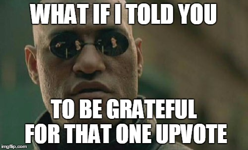 Matrix Morpheus Meme | WHAT IF I TOLD YOU TO BE GRATEFUL FOR THAT ONE UPVOTE | image tagged in memes,matrix morpheus | made w/ Imgflip meme maker