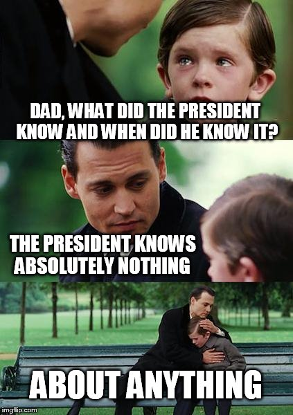 worse than we thought | DAD, WHAT DID THE PRESIDENT KNOW AND WHEN DID HE KNOW IT? THE PRESIDENT KNOWS ABSOLUTELY NOTHING ABOUT ANYTHING | image tagged in memes,finding neverland,dump trump | made w/ Imgflip meme maker