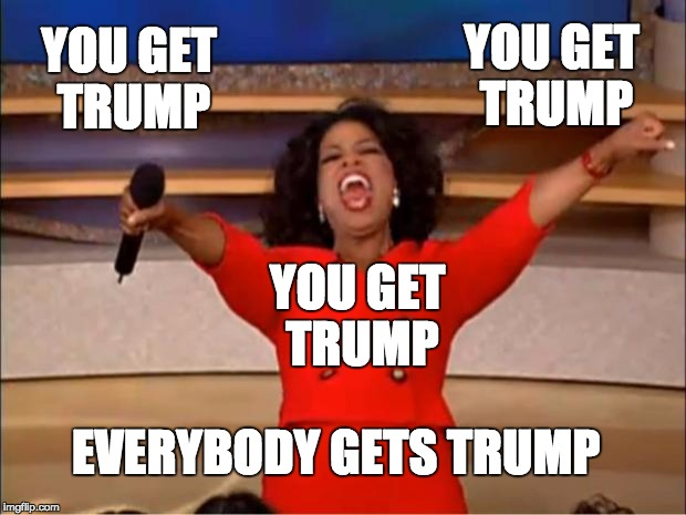 Oprah You Get A | YOU GET TRUMP YOU GET TRUMP YOU GET TRUMP EVERYBODY GETS TRUMP | image tagged in memes,oprah you get a | made w/ Imgflip meme maker