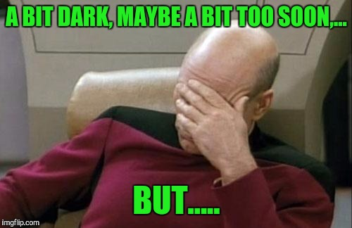 Captain Picard Facepalm Meme | A BIT DARK, MAYBE A BIT TOO SOON,... BUT..... | image tagged in memes,captain picard facepalm | made w/ Imgflip meme maker