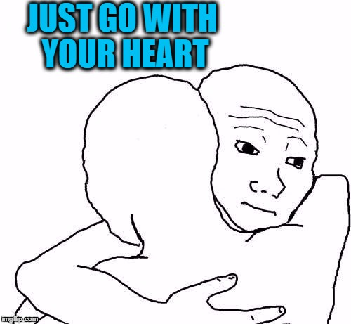 awww hug | JUST GO WITH YOUR HEART | image tagged in awww hug | made w/ Imgflip meme maker