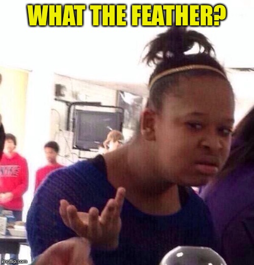 Black Girl Wat Meme | WHAT THE FEATHER? | image tagged in memes,black girl wat | made w/ Imgflip meme maker