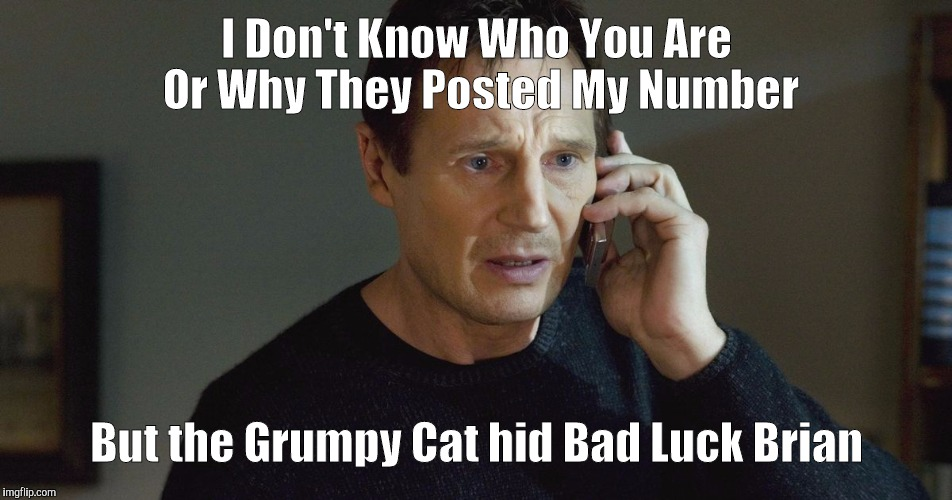 I Don't Know Who You Are... | I Don't Know Who You Are Or Why They Posted My Number But the Grumpy Cat hid Bad Luck Brian | image tagged in i don't know who you are | made w/ Imgflip meme maker