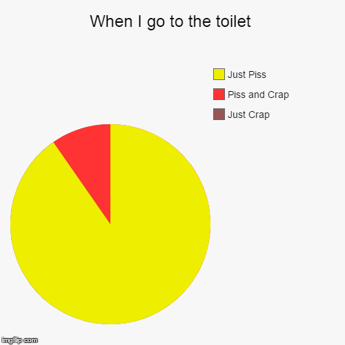 100% true, co crap | When I go to the toilet | Just Crap, Piss and Crap, Just Piss | image tagged in funny,pie charts,memes,funny memes,toilet,toilet humor | made w/ Imgflip pie chart maker