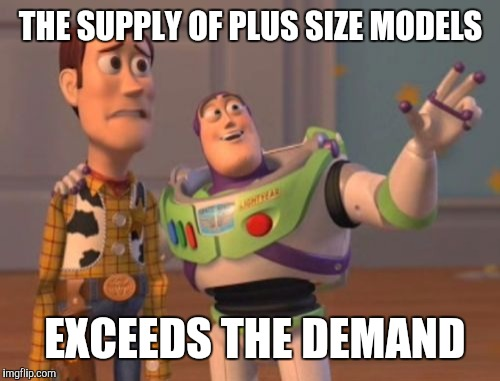 Supply and demand | THE SUPPLY OF PLUS SIZE MODELS EXCEEDS THE DEMAND | image tagged in memes,x,x everywhere,x x everywhere | made w/ Imgflip meme maker