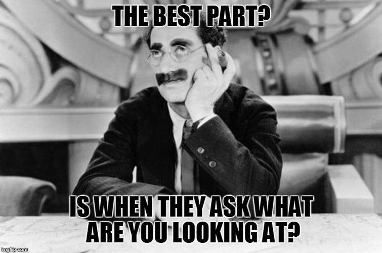 Groucho Marx | THE BEST PART? IS WHEN THEY ASK WHAT ARE YOU LOOKING AT? | image tagged in groucho marx | made w/ Imgflip meme maker