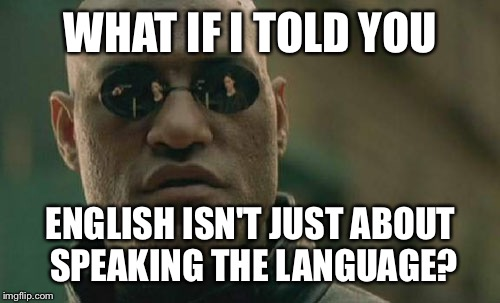 Matrix Morpheus Meme | WHAT IF I TOLD YOU ENGLISH ISN'T JUST ABOUT SPEAKING THE LANGUAGE? | image tagged in memes,matrix morpheus | made w/ Imgflip meme maker