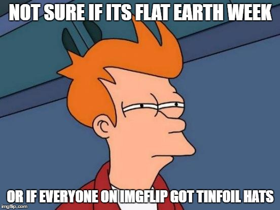 Futurama Fry Meme | NOT SURE IF ITS FLAT EARTH WEEK OR IF EVERYONE ON IMGFLIP GOT TINFOIL HATS | image tagged in memes,futurama fry | made w/ Imgflip meme maker