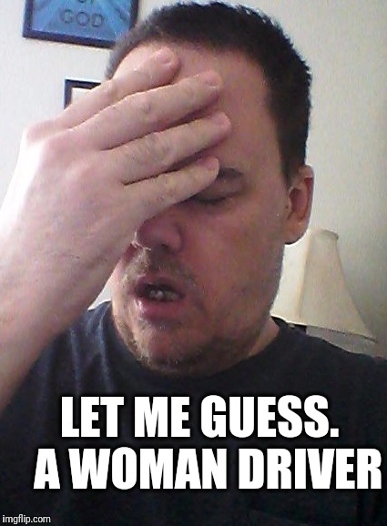 face palm | LET ME GUESS.  A WOMAN DRIVER | image tagged in face palm | made w/ Imgflip meme maker