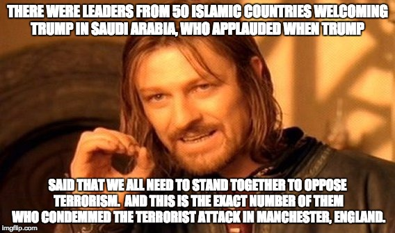 One Does Not Simply Meme | THERE WERE LEADERS FROM 50 ISLAMIC COUNTRIES WELCOMING TRUMP IN SAUDI ARABIA, WHO APPLAUDED WHEN TRUMP SAID THAT WE ALL NEED TO STAND TOGETH | image tagged in memes,one does not simply | made w/ Imgflip meme maker