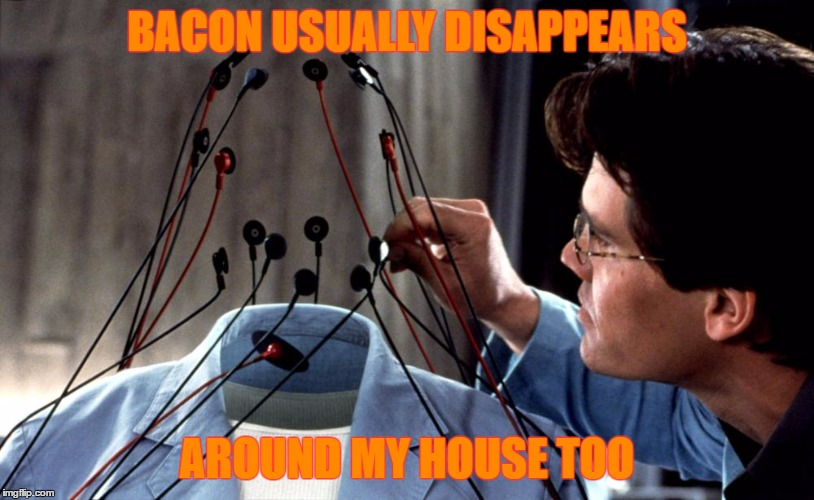 Hollow Man Bacon - Bacon Week - An IWantToBeBacon.com Event - May 22-28 | BACON USUALLY DISAPPEARS AROUND MY HOUSE TOO | image tagged in hollow man,memes,bacon week,iwanttobebacon,kevin bacon,hollow | made w/ Imgflip meme maker