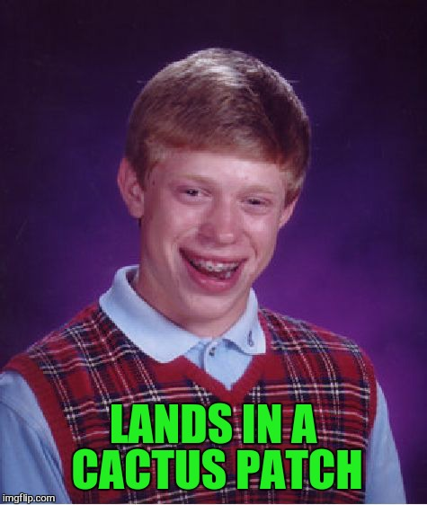Bad Luck Brian Meme | LANDS IN A CACTUS PATCH | image tagged in memes,bad luck brian | made w/ Imgflip meme maker