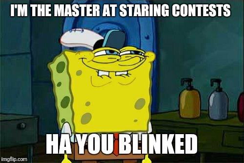 Dont You Squidward Meme | I'M THE MASTER AT STARING CONTESTS HA YOU BLINKED | image tagged in memes,dont you squidward | made w/ Imgflip meme maker