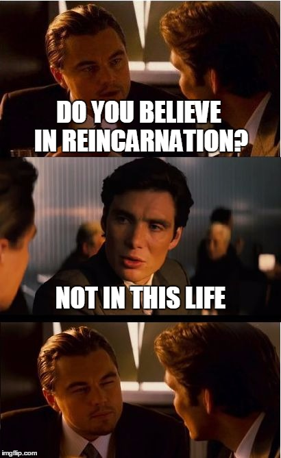 Inception Meme | DO YOU BELIEVE IN REINCARNATION? NOT IN THIS LIFE | image tagged in memes,inception | made w/ Imgflip meme maker