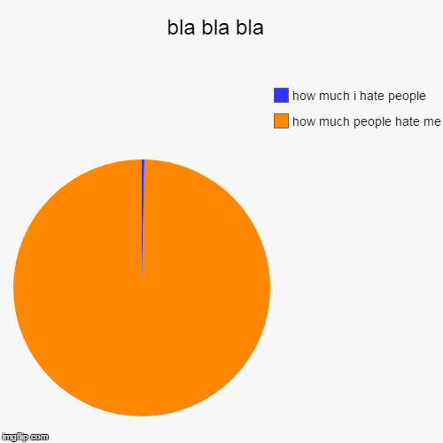 bla bla bla  | how much people hate me, how much i hate people | image tagged in funny,pie charts | made w/ Imgflip pie chart maker