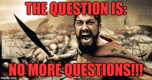 Sparta Leonidas Meme | THE QUESTION IS: NO MORE QUESTIONS!!! | image tagged in memes,sparta leonidas | made w/ Imgflip meme maker