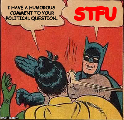 Batman Slapping Robin Meme | I HAVE A HUMOROUS COMMENT TO YOUR POLITICAL QUESTION.. STFU | image tagged in memes,batman slapping robin | made w/ Imgflip meme maker