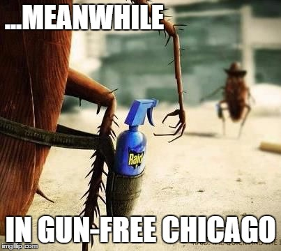 Gun Con-Troll | ...MEANWHILE IN GUN-FREE CHICAGO | image tagged in gun control,gun laws,gun rights,gun free zone,liberal vs conservative,cockroaches | made w/ Imgflip meme maker