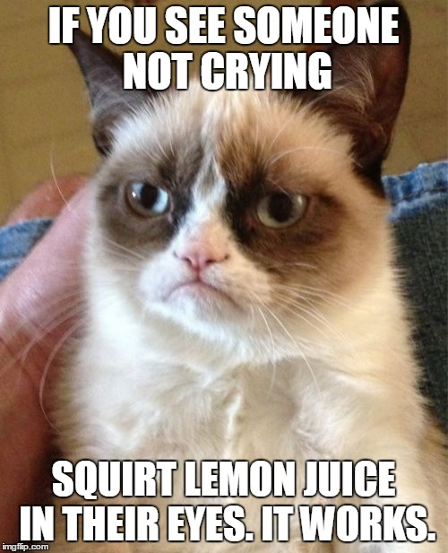 Grumpy Cat Meme | IF YOU SEE SOMEONE NOT CRYING SQUIRT LEMON JUICE IN THEIR EYES. IT WORKS. | image tagged in memes,grumpy cat | made w/ Imgflip meme maker