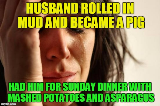 First World Problems Meme | HUSBAND ROLLED IN MUD AND BECAME A PIG HAD HIM FOR SUNDAY DINNER WITH MASHED POTATOES AND ASPARAGUS | image tagged in memes,first world problems | made w/ Imgflip meme maker