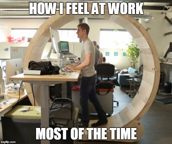 How Meaningless Tasks Feel | HOW I FEEL AT WORK MOST OF THE TIME | image tagged in hamster wheel desk,memes | made w/ Imgflip meme maker