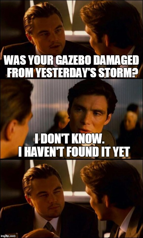 Di Caprio Inception | WAS YOUR GAZEBO DAMAGED FROM YESTERDAY'S STORM? I DON'T KNOW.    I HAVEN'T FOUND IT YET | image tagged in di caprio inception | made w/ Imgflip meme maker