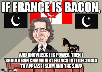 IF FRANCE IS BACON, AND KNOWLEDGE IS POWER, THEN I SHOULD BAN COMMUNIST FRENCH INTELLECTUALS TO APPEASE ISLAM AND THE SJW? | made w/ Imgflip meme maker