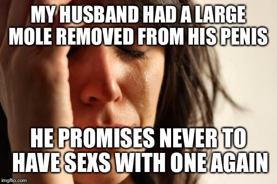 Hampsters or rabbits? | MY HUSBAND HAD A LARGE MOLE REMOVED FROM HIS P**IS HE PROMISES NEVER TO HAVE SEXS WITH ONE AGAIN | image tagged in memes,first world problems,funny | made w/ Imgflip meme maker