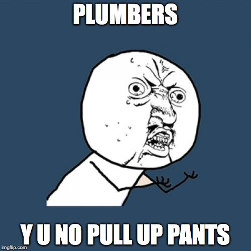Y U No Meme | PLUMBERS Y U NO PULL UP PANTS | image tagged in memes,y u no | made w/ Imgflip meme maker