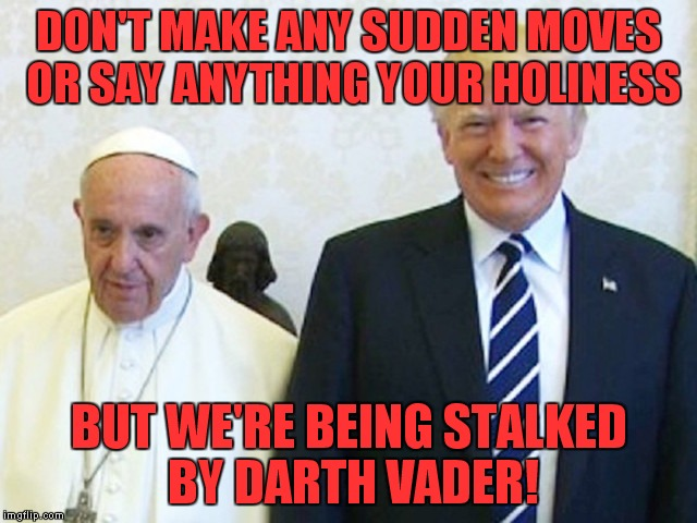 That's what it looked like to me! | DON'T MAKE ANY SUDDEN MOVES OR SAY ANYTHING YOUR HOLINESS BUT WE'RE BEING STALKED BY DARTH VADER! | image tagged in trump  pope,darth vader,optical illusion | made w/ Imgflip meme maker