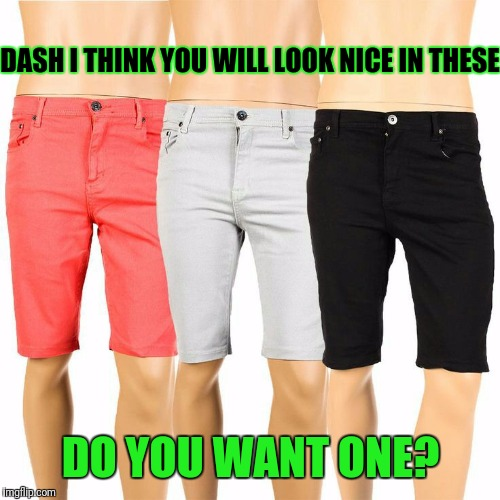 DASH I THINK YOU WILL LOOK NICE IN THESE DO YOU WANT ONE? | made w/ Imgflip meme maker