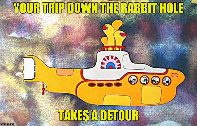 Yellow Submarine | YOUR TRIP DOWN THE RABBIT HOLE TAKES A DETOUR | image tagged in yellow submarine | made w/ Imgflip meme maker