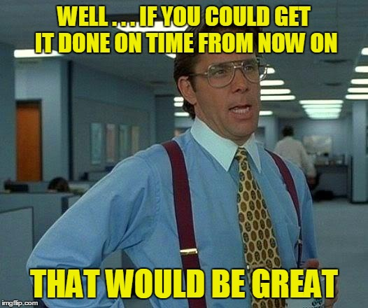 That Would Be Great Meme | WELL . . . IF YOU COULD GET IT DONE ON TIME FROM NOW ON THAT WOULD BE GREAT | image tagged in memes,that would be great | made w/ Imgflip meme maker