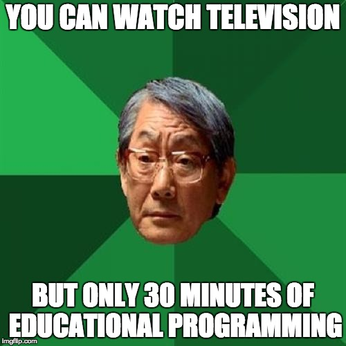 High Expectations Asian Father Meme | YOU CAN WATCH TELEVISION BUT ONLY 30 MINUTES OF EDUCATIONAL PROGRAMMING | image tagged in memes,high expectations asian father | made w/ Imgflip meme maker