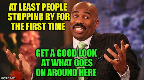 Steve Harvey Meme | AT LEAST PEOPLE STOPPING BY FOR THE FIRST TIME GET A GOOD LOOK AT WHAT GOES ON AROUND HERE | image tagged in memes,steve harvey | made w/ Imgflip meme maker