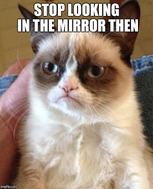 Grumpy Cat Meme | STOP LOOKING IN THE MIRROR THEN | image tagged in memes,grumpy cat | made w/ Imgflip meme maker