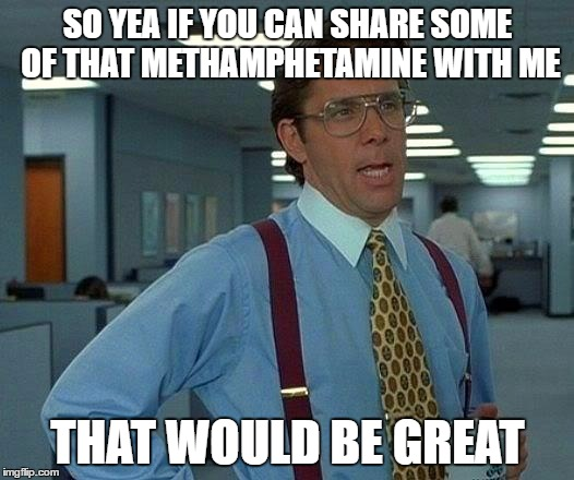 That Would Be Great Meme | SO YEA IF YOU CAN SHARE SOME OF THAT METHAMPHETAMINE WITH ME THAT WOULD BE GREAT | image tagged in memes,that would be great | made w/ Imgflip meme maker